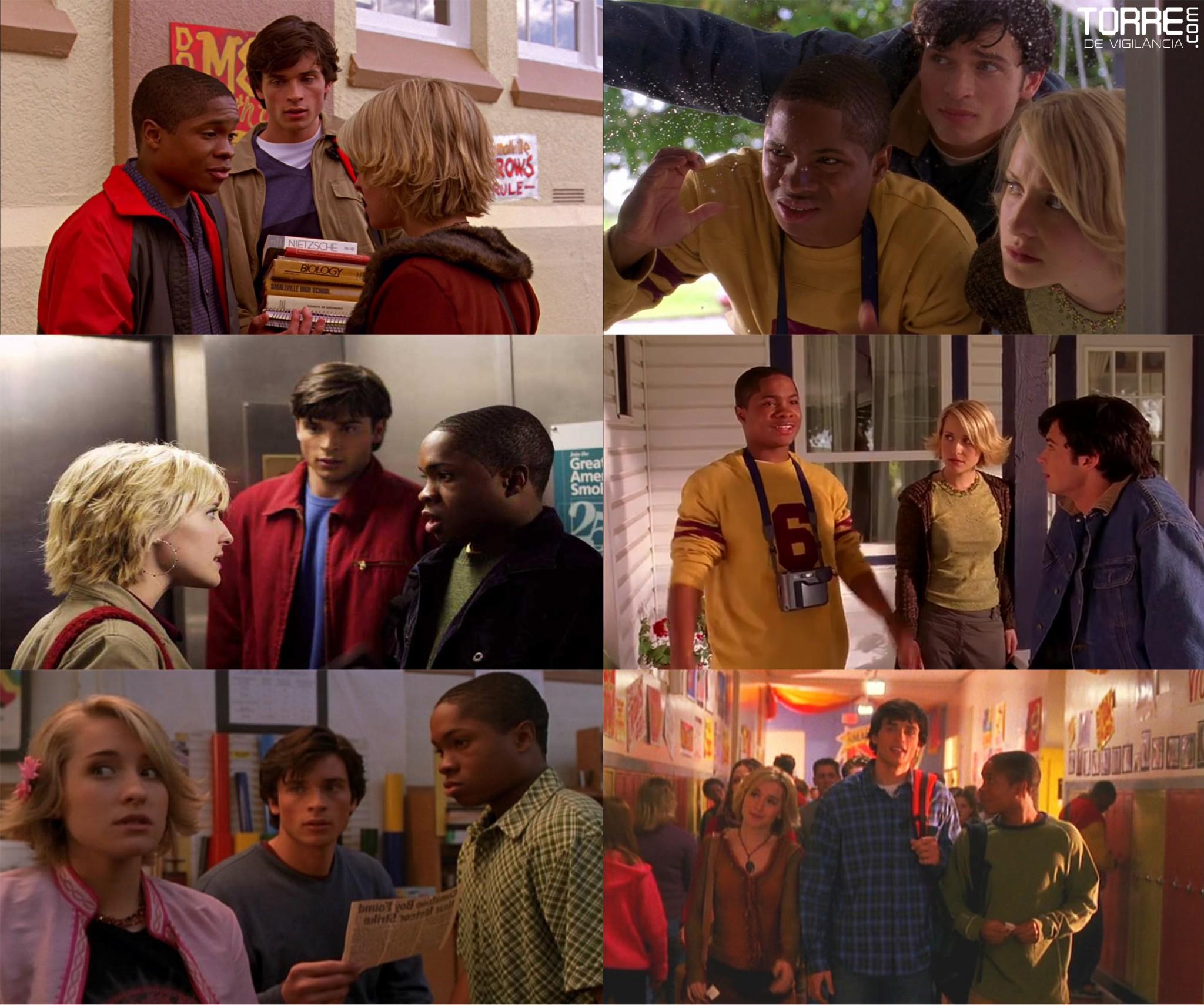 Tom Welling (Clark Kent), Allison Mack (Chloe Sullivan), e Sam Jones III (Pete Ross)
