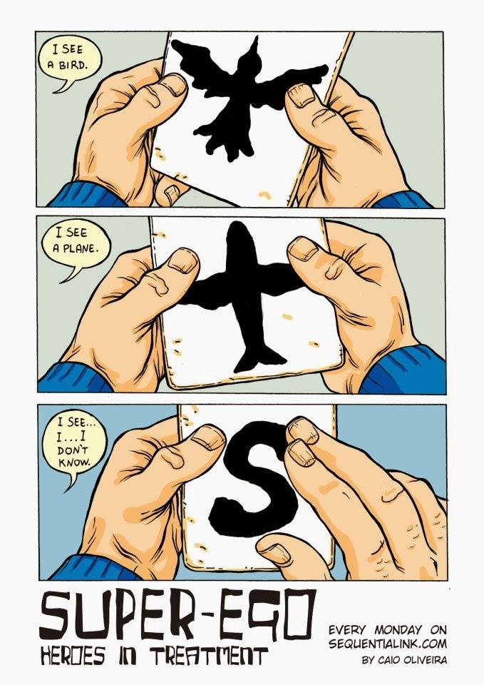 Imagem promocional do Gibi, referenciando a frase clássica dita quando o Superman  aparece.