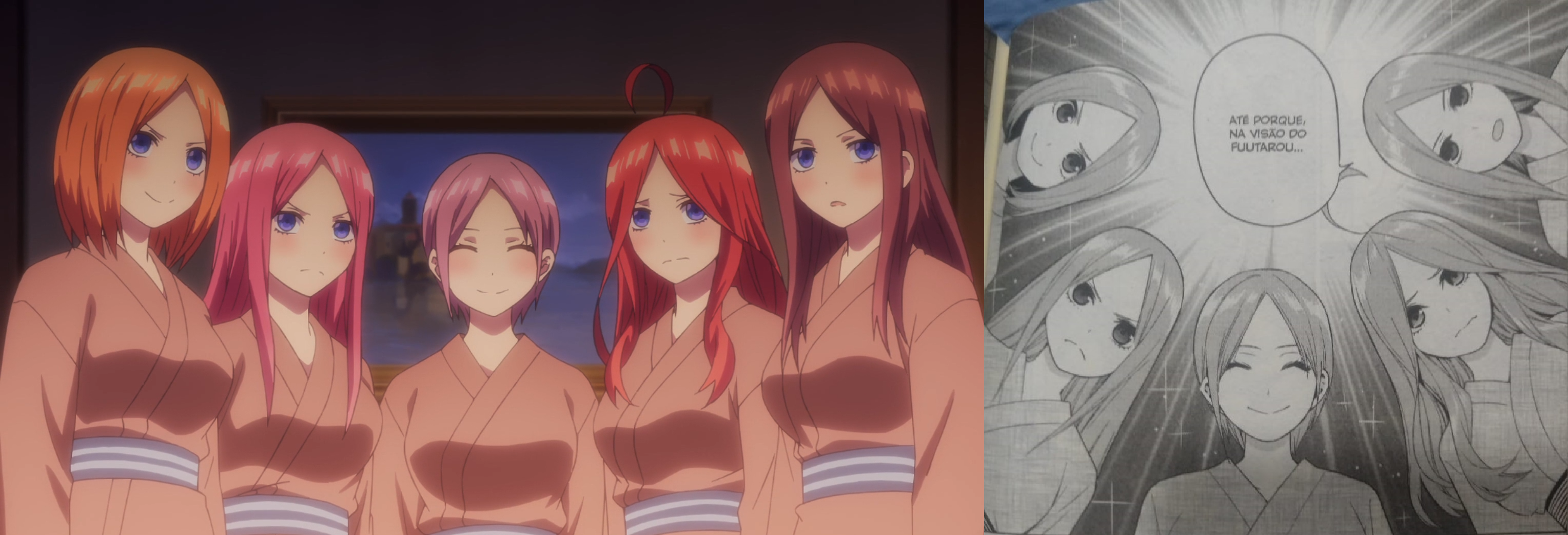 "Na esquerda, captura de tela do episódio 9 de ""The Quintessential Quintuplets""; Na direita, foto de uma página do volume 4 de ""As Quíntuplas"""