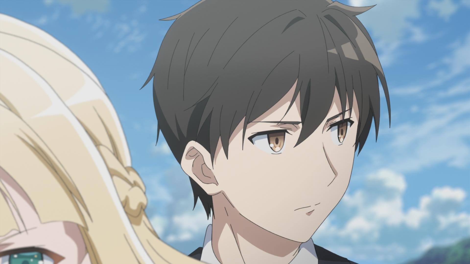 """Captura de tela do episódio 9 de """"The Detective is Already Dead"""", mostrando Kimihiko e um pedaço da cabeça de Charlotte"""