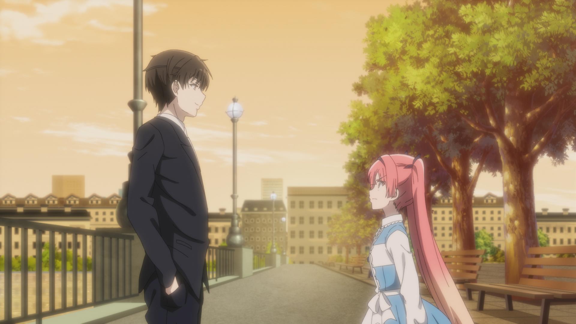 """Captura de tela do episódio 8 de """"The Detective is Already Dead"""", mostrando Kimihiko (esquerda) e Alicia (direita)"""