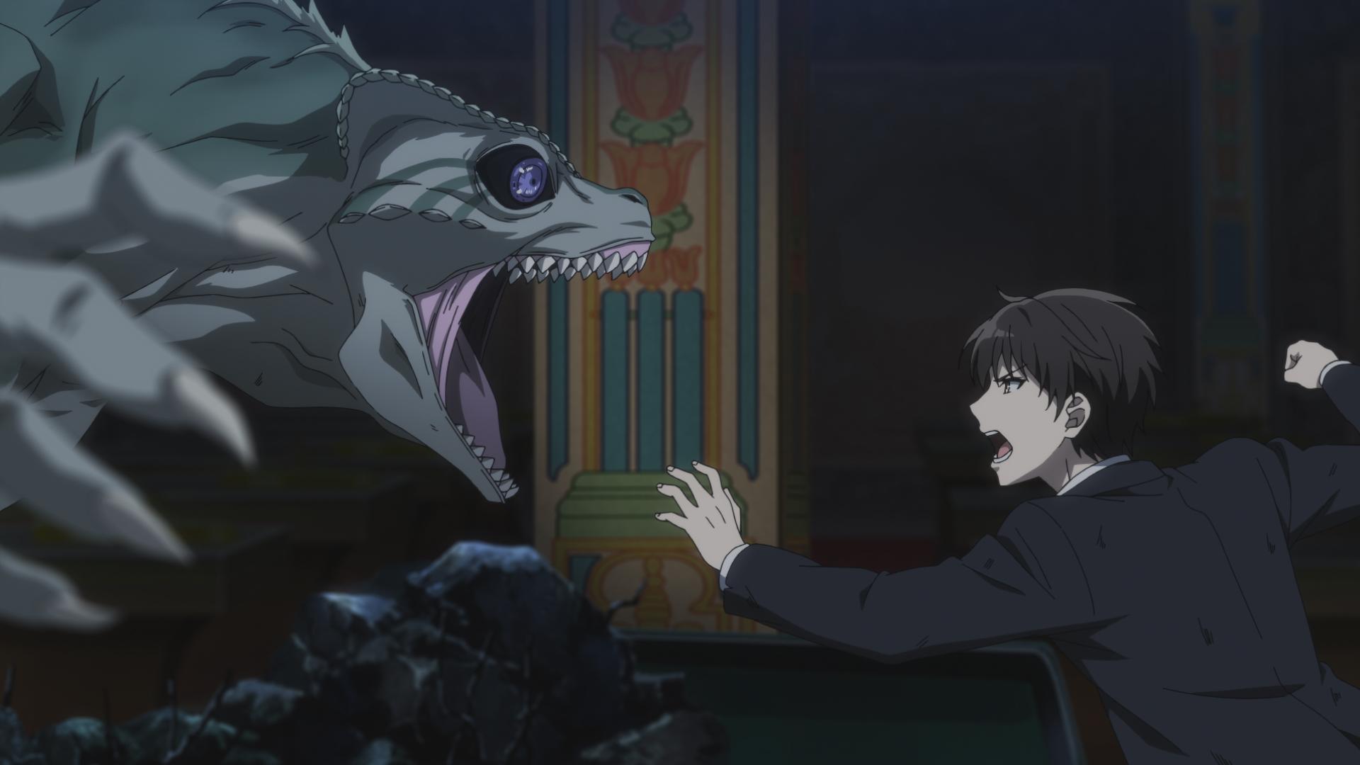 """Captura de tela do episódio 11 de """"The Detective is Already Dead"""", mostrando Camaleão (esquerda) e Kimihiko (direita)"""