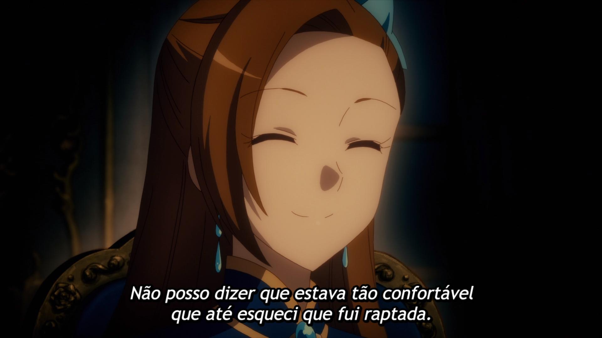 """Captura de tela do episódio 3 de """"Hamefura X"""", mostrando Catarina, e com legenda """"Não posso dizer que estava tão confortável que até esqueci que fui raptada."""""""